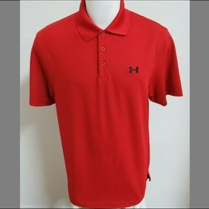 Sz L Under Armour Heat-GEAR Mens #D73 Golf Polo